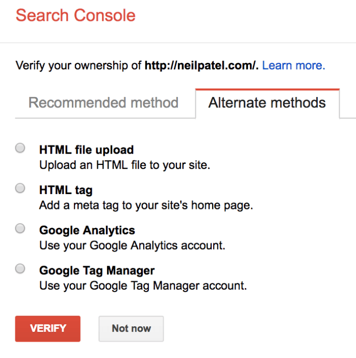 index website sign up for search console