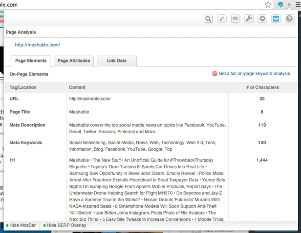 moz bar page analysis free SEO tool