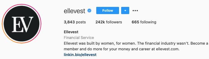 best Instagram bios - ellevest instagram page bio