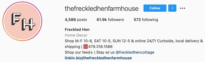 best instagram bios - the freckled hen farmhouse