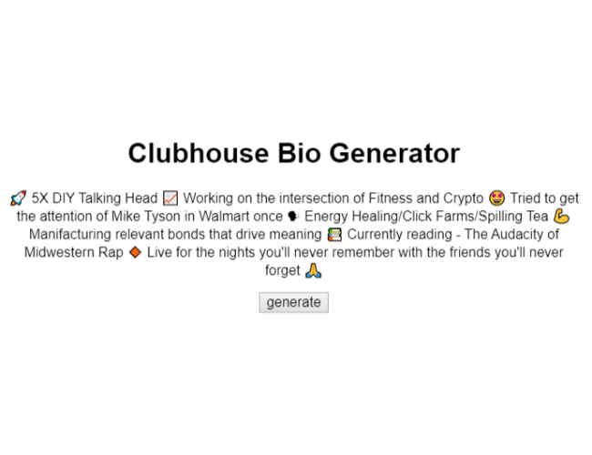 Marketing Clubhouse Tools - CH Bio Generator