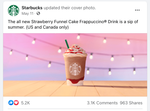 Facebook post - strawberry Frappuccino sits on orange table for starbucks