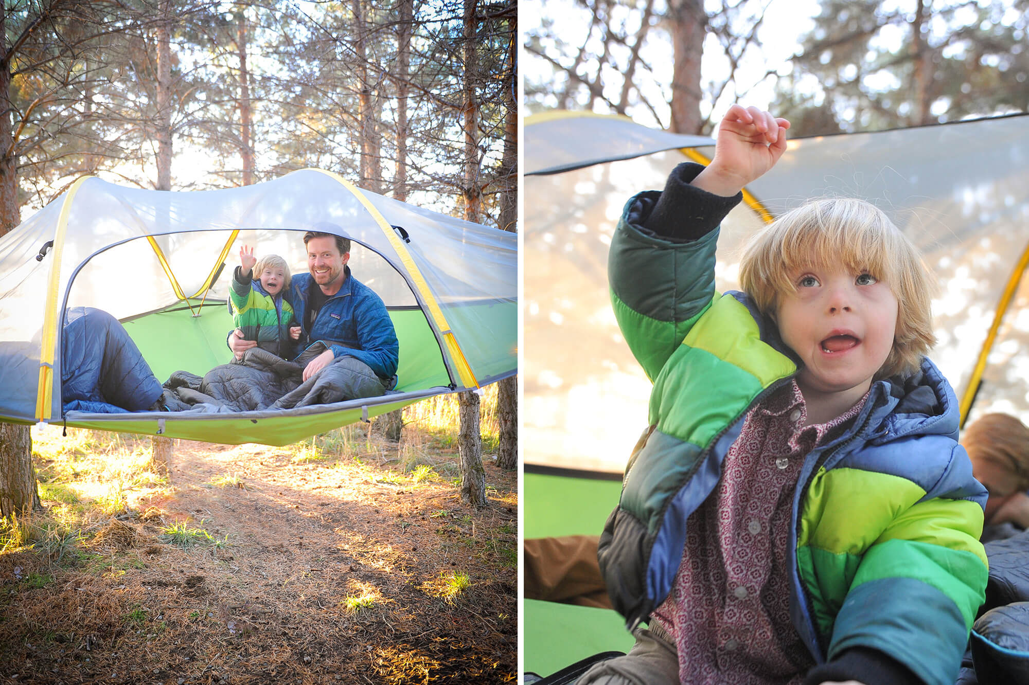 backyard camping in our tree hanging tent that dad blog