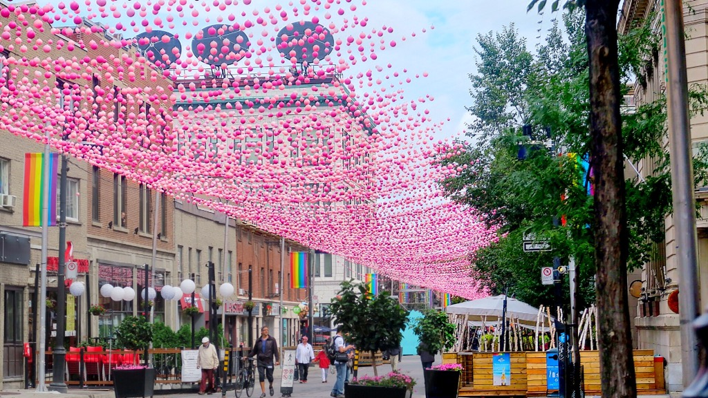 Signature pink balloons over Montreal's Gay Village