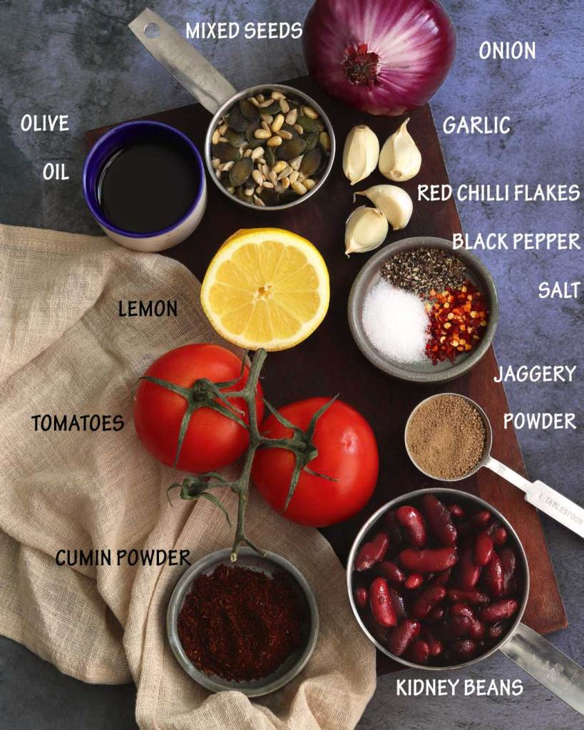 Ingredients used in making Vegan Tomato Bean Dip