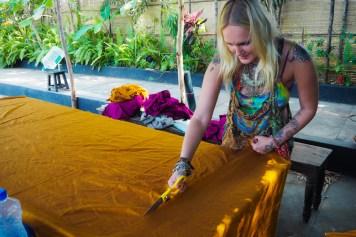 Lucinda on fabric duties