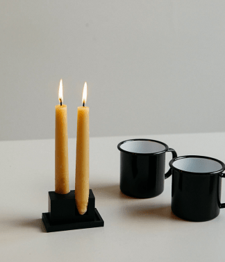 Black Candle Holder & Falcon Enamel Mug Set