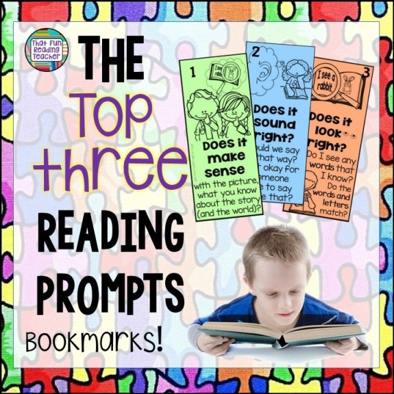 Teaching beginning readers - top three reading prompts bookmarks free! | ThatFunReadingTeacher.com