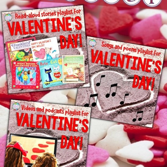 Got a smartboard in your classroom? Enjoy these Valentine's Day Free Playlists for K-2! #earlylearning #stories #songs #videos #valentinesday #kindergarten