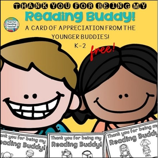 Thank you card for Reading Buddy - free!