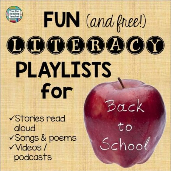 Back to school stories, songs, poems and more! Free playlists on That Fun Reading Teacher.com