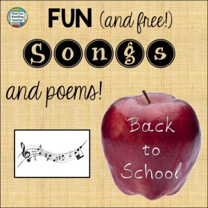 Back to School songs and poems playlist free on ThatFunReadingTeacher.com
