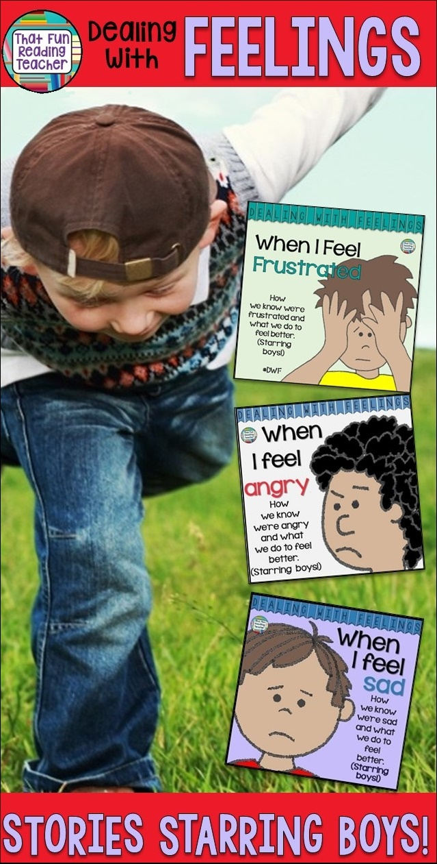 Feelings books - Teaching boys about expressing and managing emotions? Here are some color and black + white feelings stories they'll relate to! $