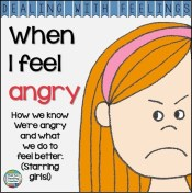 When I feel angry - Dealing With Feelings color and b&w printable story K-3 #DWF $