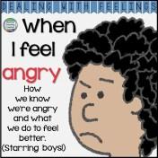 When I feel angry - color & b+w printable story K-3 #DWF $