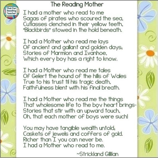 The Reading Mother poem by Strickland Gillian