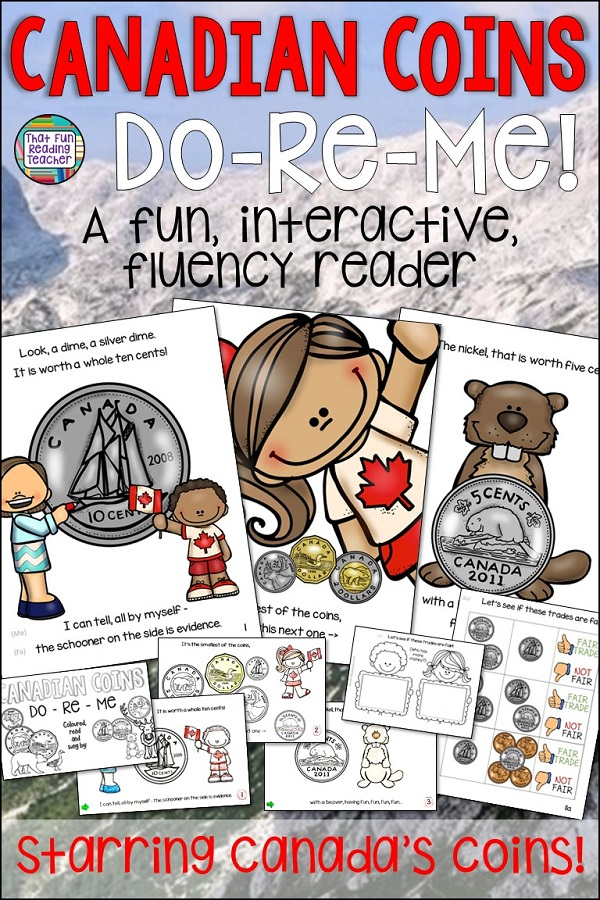 Song for learning Canadian coins! Teach Canadian coin names and values to the tune of Do-Re-Me! Click for more info on this fun, interactive color Canadian Coins song / picture book with student-size line art versions and make it memorable! #canadiancoins #teaching #tpt #math #ontario #mneumonics
