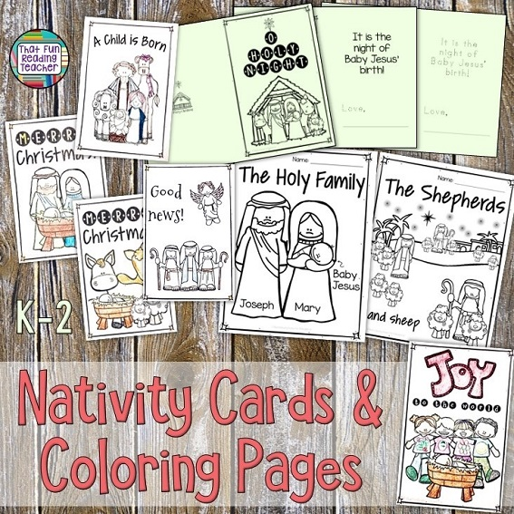 Nativity no-prep cards and coloring sheets for K-2 $ #teaching #nativity #writing #tpt #kindergarten #primary #christmas