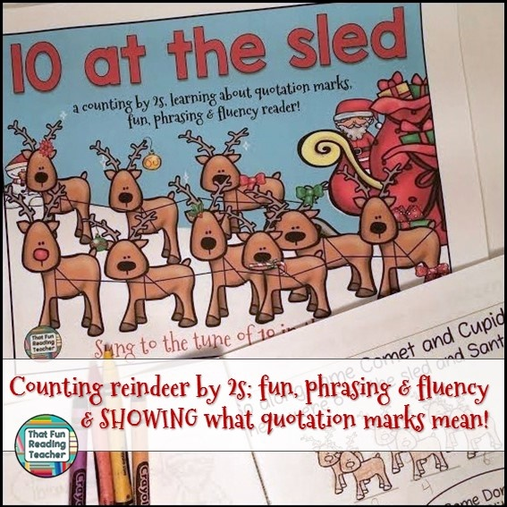 Counting reindeer by 2s; fun, phrasing & fluency & SHOWING what quotation marks mean!