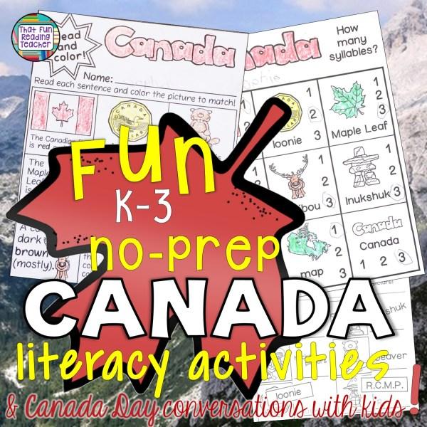 Fun primary, no-prep Canada literacy activities!   That Fun Reading Teacher.com