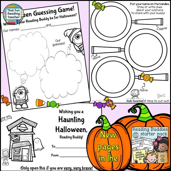 Reading Buddy Activities: 1) Have your students make a Halloween card for their Reading Buddies 2) Halloween Guessing Game: Talk to your students about how to give clues about what they are planning to dress up as for Halloween, without actually giving away what their costume will be. The Reading Buddy 'detectives' can share clues with each other, then make predictions prior to Halloween. A print-and-go card and printables for this activity has just been added to the Reading Buddies Starter Pack (a free update for those who already own it!)