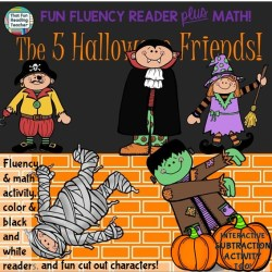 Halloween Phrasing and Fluency Reader with Subtraction activity
