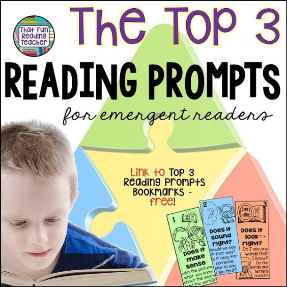 The top 3 reading prompts for beginning readers, and a link to free visual prompts! #top3prompts #earlychildhoodeducation #teaching #earlyliteracy #ThatFunReadingTeacher