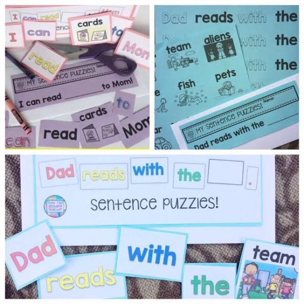 A sample of pre-made sentence puzzles from Sight-Word-Stages Readers and 2 pack Writing Sets starring Mom and Dad $