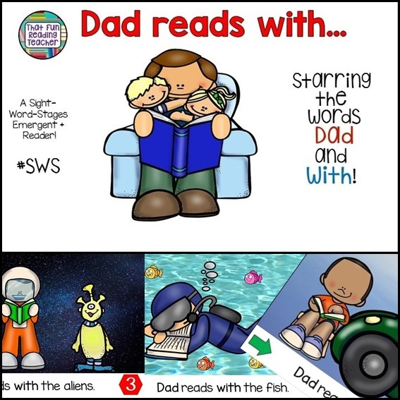 Kindergarten students were laughing more with each page during picture walk with this Level A/B sight word reader starring dad! $