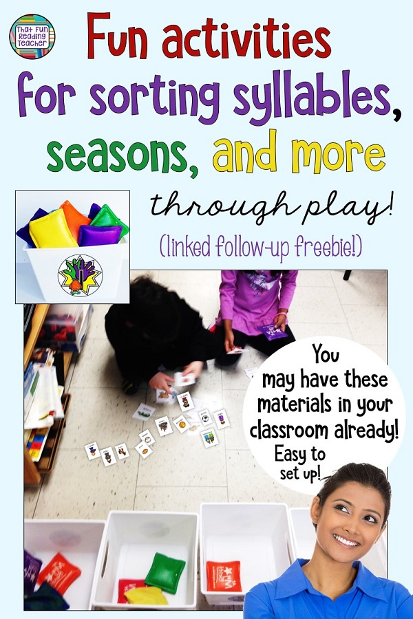 Syllable sorting fun! Kindergarten, 1st grade students sort words by syllables or (items / words by season) with fun bean bag game Say it, clap it, toss it! $ #learnthroughplay #tpt #earlylearning #thatfunreadingteacher