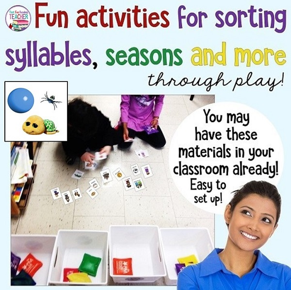 Teaching your students about syllables and sorting? Mine love playing this fun bean bag toss activity. You may have all the materials to try it out right in your own classroom already! #learningthrougplay #playbasedlearning #earlylearning #earlyliteracy #thatfunreadingteacher