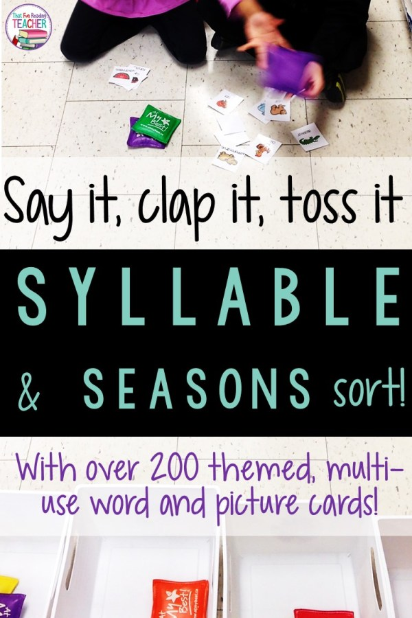 Do your students know how to break words down into syllables? Here are some fun game and activities for sorting syllables, seasons and more using materials you may already have! Link to free follow up! #teaching #education #syllables #earlyliteracy #iteachtoo #iteach1st #kindergarten