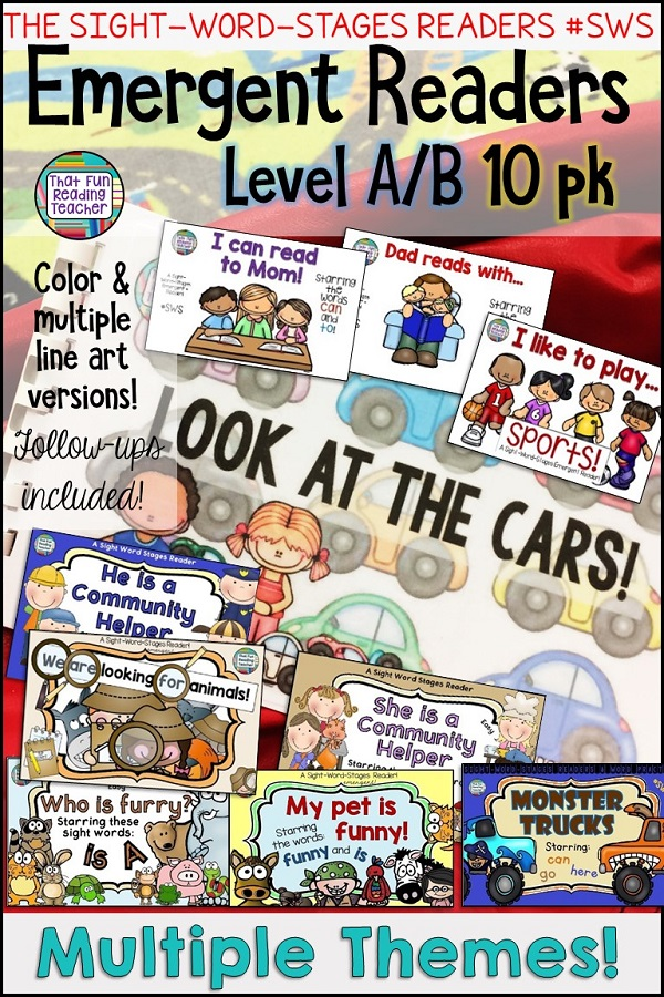 Emergent Level A & B sight-word readers for guided reading. These ten high-interest stories target specific sight words while allowing early readers to maintain attention to the meaning in the pictures. $ #tpt #teacherspayteachers #sightwords #kindergarten #education #earlyliteracy