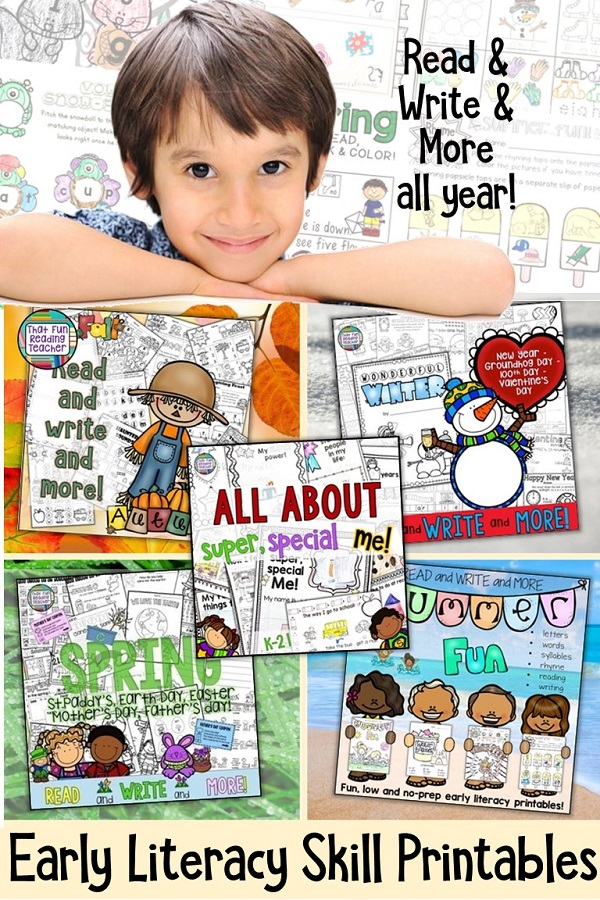 Fun, seasonal, no or low-prep printable early literacy resources to last the whole year! Early lit skills, graphic organizers and thematic paper! $
