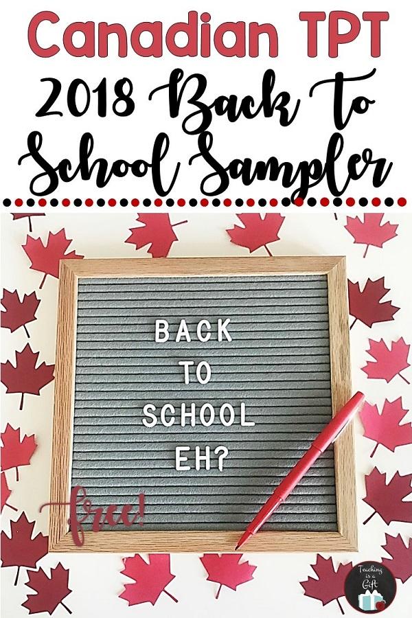 Canadian Back to School Sampler 2018 - Free! #TpT #teaching #elementary #education #free #bts #BTSReadyWithTpT