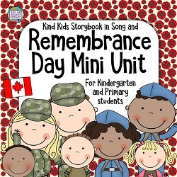 Remembrance Day Resource for primary, kindergarten students: Color and line art song book, printables $ #RemembranceDay #primary #kindergarten #tpt #teacherspayteachers