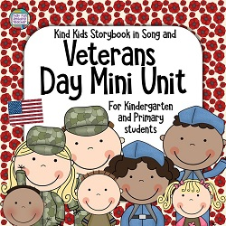 Veterans Day Resource for primary, kindergarten students - Color and line art song book, printables $ #VeteransDay #primary #kindergarten #tpt #teacherspayteacher
