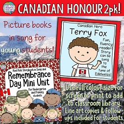 It's time to honour Canada's heroes. Singing storybook lessons about perseverance and character can inspire young kids towards gratitude, kindness and community. These ones are simple, printable, and memorable. Click to learn more. $ #canadianheroes #terryfox #remembranceday #primary #kindergarten