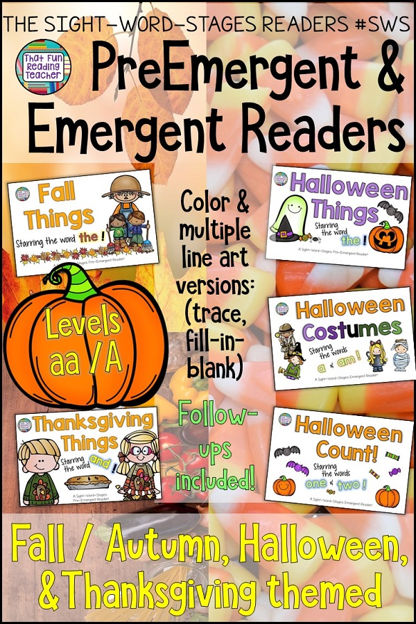 Fall, Autumn, Thanksgiving, Halloween PreEmergent and Emergent sight-word readers, sentence puzzles, follow ups $ #guidedreading #fall #autumn #PreEmergent #Emergent #Halloween #Thanksgiving