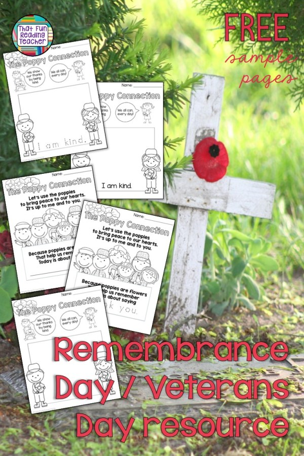 Remembrance Day Veterans Day free printable for primary students! #veteransday #remembranceday #free #teaching #primary #kindergarten #kindness