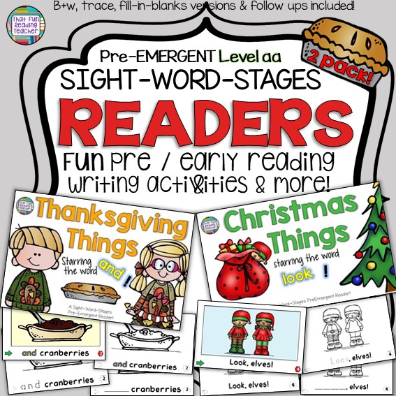 Teaching kindergarten students how to read? Keep the color versions of these fun holiday themed PreEmergent Readers in your classroom, while students color their own line-art copy to take home for familiar reading! $ #earlylearning #kindergarten #thanksgiving #christmas #guidedreading