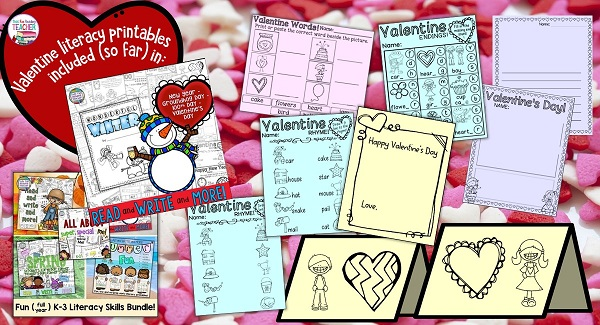 Valentine early literacy skill printables from Read and Write and More: Winter | That Fun Reading Teacher