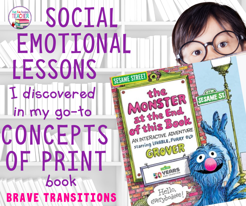 Social emotional lessons I discovered in my go-to Concepts of Print book - brave transitions #sesamestreet #earlylearning #earlyliteracy #socialemotional #teaching #kindergarten #conceptsofprint