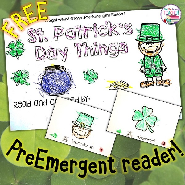Kindergarten teachers, here is a FREE, fun, printable, PreEmergent reader for March! St. Patrick's Day Things has just two words per page, using holiday vocabulary and providing an opportunity to trace the word 'A' with a dotted arrow font. Just - right reading for students becoming aware of words! Download the PDF here: