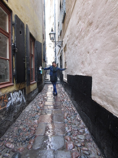Me in the most narrow street in Stockholm!