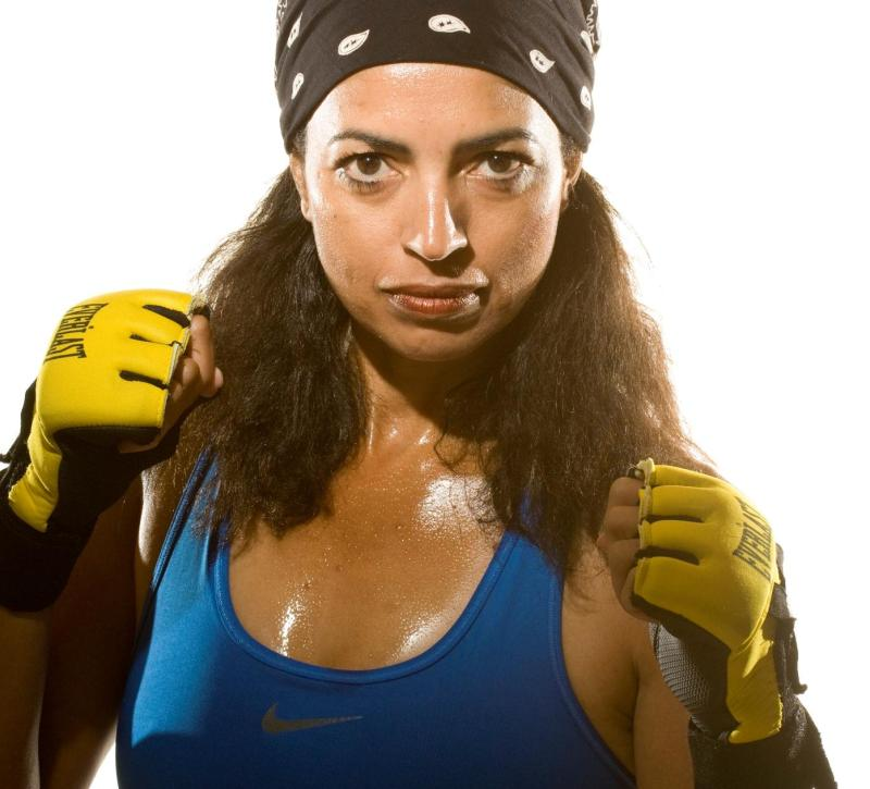 Cheryl Ragsdale wearing MMA gloves