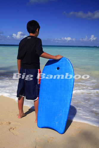 boy with boogie board