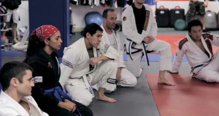 Cheryl Ragsdale in BJJ class with the guys