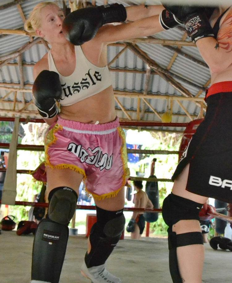 Elaina Maxwell training at Tiger Muay Thai in Thailand