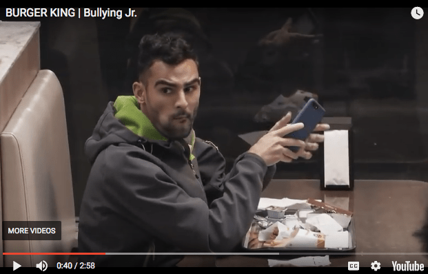 burger king bullying whopper and kid disapproving look
